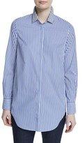 Brunello Cucinelli Monili-Embellished Striped Tunic, Blue