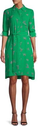 Diane von Furstenberg Bird-Print Roll-Tab Sleeve Shirtdress