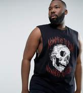 Asos Plus Sleeveless T-Shirt With Dropped Armhole & Skull Print