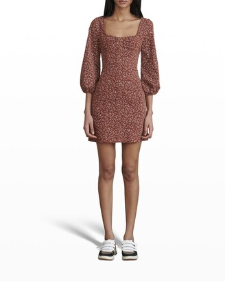 Veronica Beard Jeans Ranja 3/4-Sleeve Mini Dress