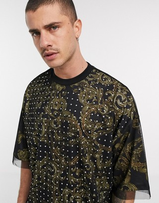 ASOS DESIGN oversized double layer t-shirt with all over paisley print and embellished mesh