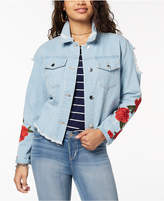 Say What Juniors' Ripped Embroidered Denim Jacket