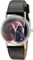 Whimsical Watches Kids' R0130014 Classic Boxer Black Leather And Silvertone Photo Watch