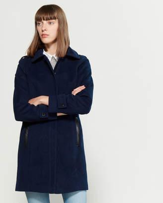 MICHAEL Michael Kors Faux Leather Trim Walker Coat