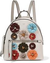 Fendi Appliquéd Leather Backpack - White