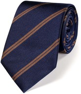 Charles Tyrwhitt Navy and brown silk classic double stripe tie