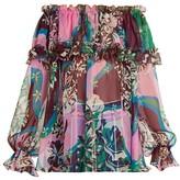 Emilio Pucci Vahine-Print Silk Chiffon Ruffle Blouse