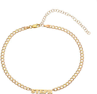 Zoe Lev Jewelry Personalized Cuban Link Choker Necklace with Name Plate in 14K Yellow Gold