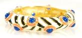Kenneth Jay Lane B&W Enamel Bracelet w/ Coral + Lapis