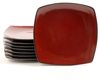 """Gibson Home Soho Lounge 10.5"""" Square Dinner Plates, Red, Set of 8"""