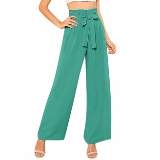 Lazzboy Women Wide Leg Relaxed Trousers High Waist Plain Solid Drawstring Lace-up Full Length Pants Loose Ladies Trouser(L(12)
