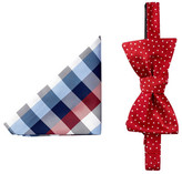 Tommy Hilfiger Buffalo Plaid & Dot Silk Bow Tie & Pocket Square Set