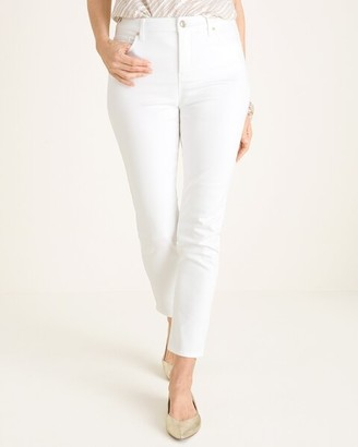 So Slimming No-Stain White Girlfriend Ankle Jeans