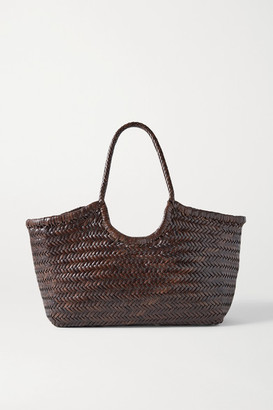 DRAGON DIFFUSION Nantucket Large Woven Leather Tote - Dark brown