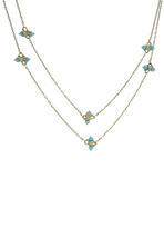 Ten Thousand Things Long Turquoise Beaded Chain Necklace - Yellow Gold