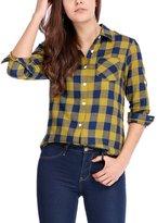 Allegra K Women's Roll Up Sleeves Buttoned Boyfriend Plaids Shirt Blue M