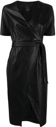 Pinko faux leather side slit dress