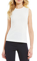 Preston & York Victoria Round Neck Sleeveless Solid Knit Shell