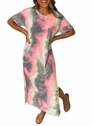 CORAFRITZ Summer Dress Floral Print V Neck Sleeveless Long Maxi Dresses Tie Dye Pocket Dress Short Sleeve Boho Cocktail Beach Loose Casual Sundress Split Hem Gradient Irregular Hem Gray