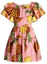 Dolce & Gabbana Pineapple-print ruffled-panel cotton dress