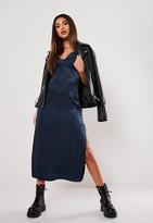 Missguided Navy Satin Lace Slip Midi Dress