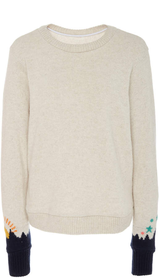 The Elder Statesman Heavyweight Intarsia Sleeves Cashmere Sweater