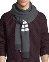 Thom Browne Four-Stripe Herringbone Wool Scarf