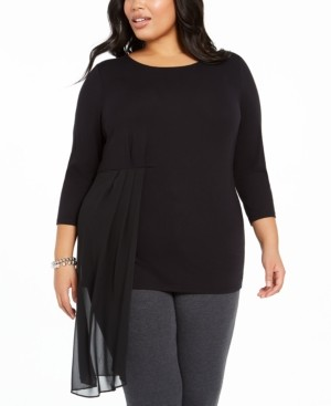 Alfani Plus Size Asymmetrical-Overlay Top, Created for Macy's
