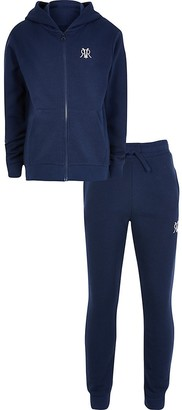 River Island Boys navy hoodie and jogger zip up outfit