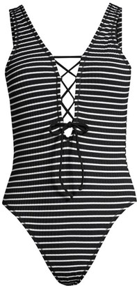 Robin Piccone Sailor Striped Halter One-Piece Swimsuit