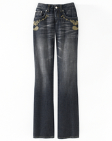 Embroidered Paisley-Accent Jeans