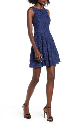 Speechless All Lace Tiered Hem Fit & Flare Dress