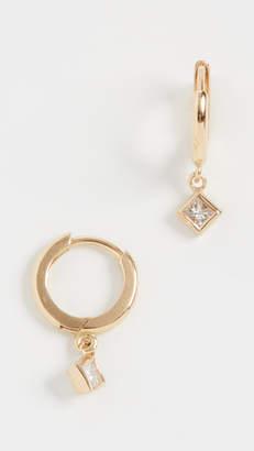 Jennifer Meyer Jewelry 18k Huggies with Princess Cut Diamond Drop