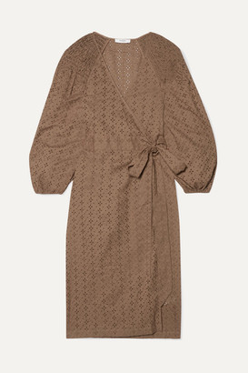 Marysia Swim Pink Sands Broderie Anglaise Cotton Wrap Dress - Brown