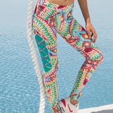 Luli Fama Wild Heart Laced Panel Skinny Legging In Multi-Color (F510B01)