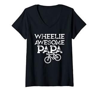Womens Mountain Biking Gifts for Grandpa Wheelie Papa Funny Shirt V-Neck T-Shirt