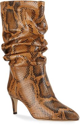 Paris Texas 60mm Python-Print Slouchy Boots