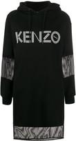 Kenzo mesh-insert hooded sweatshirt dress