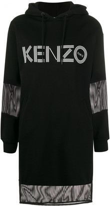 Kenzo Mesh-Insert Hooded Sweatshirt Dress