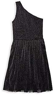 Un Deux Trois Girl's One-Shoulder Metallic Dress