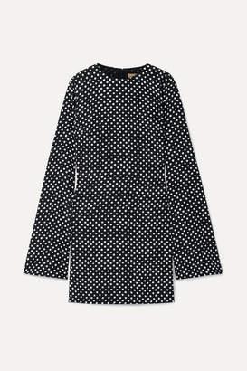 Michael Kors Polka-dot Silk-crepe Mini Dress - Black