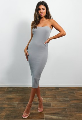 Missguided Petite Grey Transparent Strap Knitted Midaxi Dress