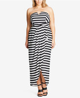 City Chic Trendy Plus Size Striped Strapless Maxi Dress