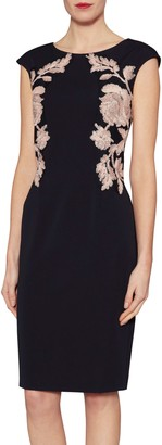 Gina Bacconi Natalie Floral Embroidered Dress, Midnight Peach
