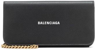 Balenciaga Logo leather clutch