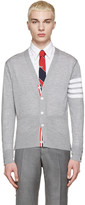 Thom Browne Grey Wool Striped Armband Cardigan