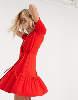ASOS DESIGN wrap mini dress in red