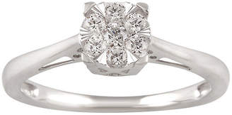 FINE JEWELRY Womens 1/4 CT. T.W. Genuine White Diamond 10K White Gold Solitaire Engagement Ring