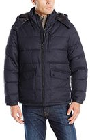 Nautica Men's Brushed Harringbone Jacket with Removable Hood