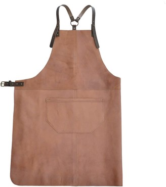 Eva D. Handcrafted Leather Apron in a subtle pink shade